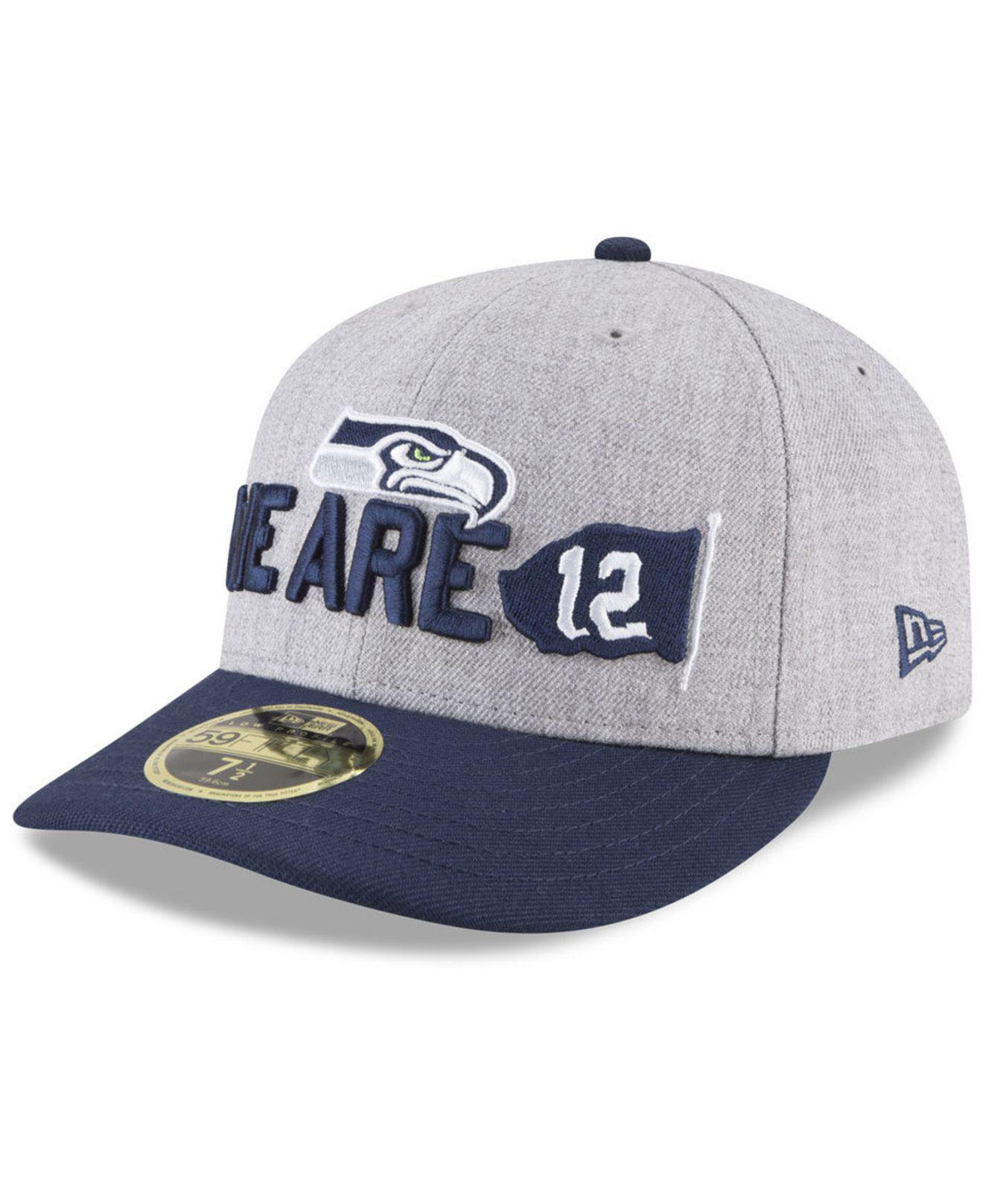 brand new 0b9a8 a9882 KTZ. Men s Blue Seattle Seahawks Draft Low Profile 59fifty Fitted Cap