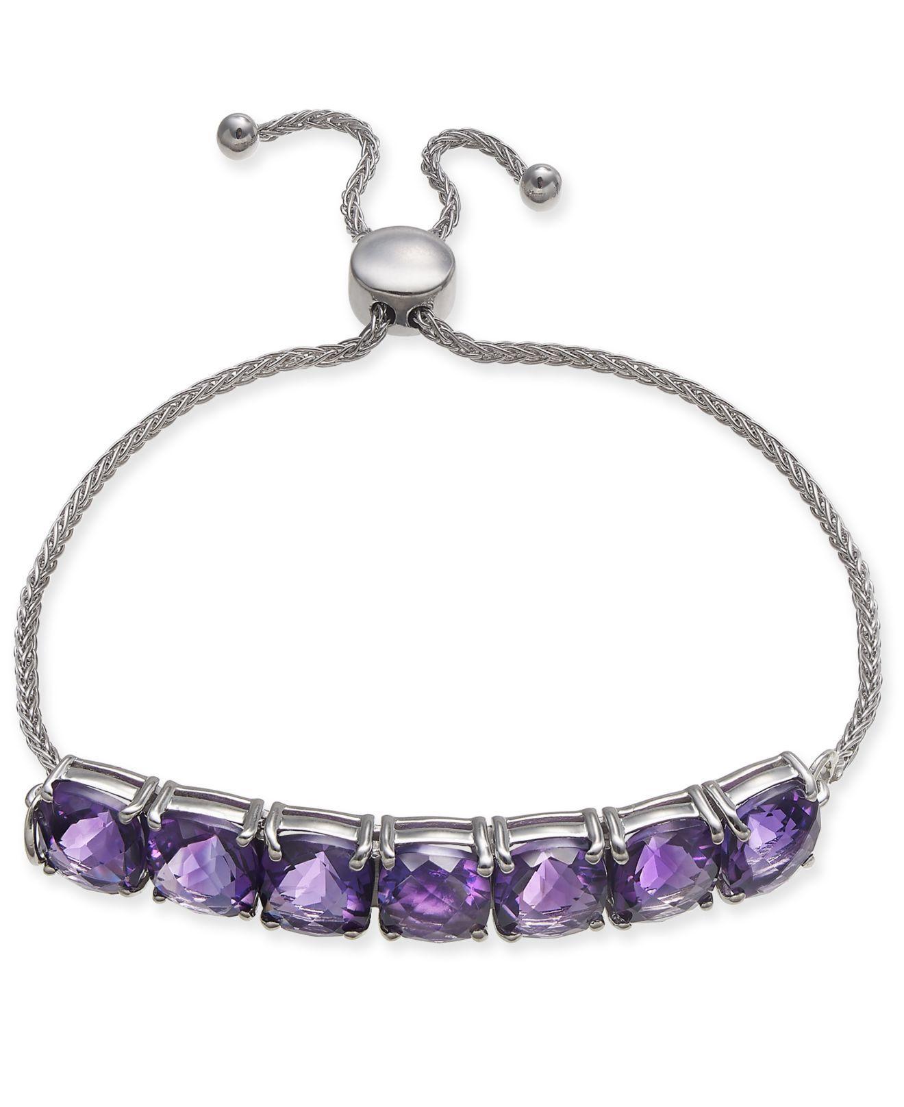 548d6f87562 Lyst - Macy's Amethyst (9-3/4 Ct. T.w.) Bolo Bracelet In Sterling ...