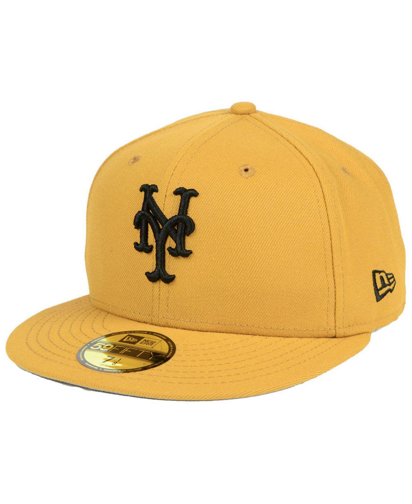 competitive price 6fd75 3589c ... usa ktz. mens yellow new york mets reverse c dub 59fifty fitted cap  ae58e b6815