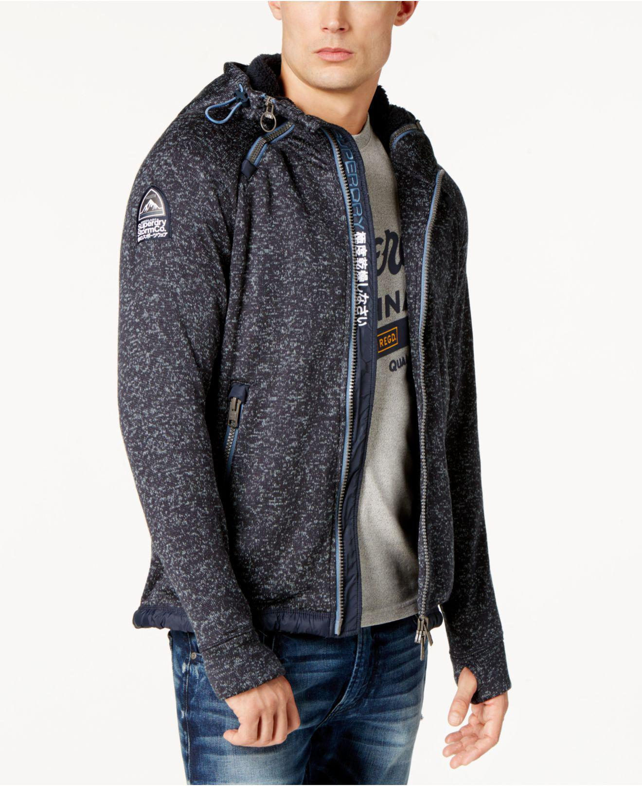 Superdry Men's Hooded Sweater-jacket in Blue for Men | Lyst