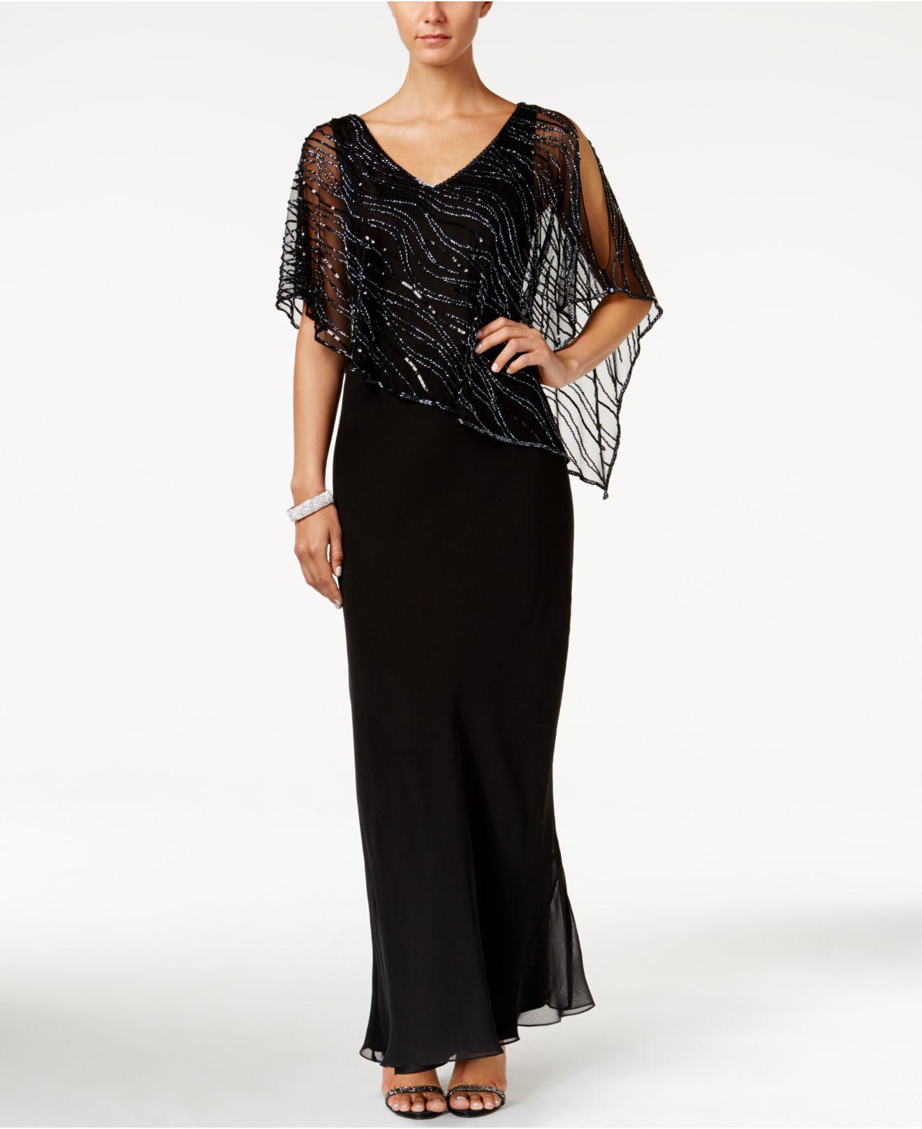 Lyst - J Kara Embellished Illusion-overlay Crepe Gown in Black