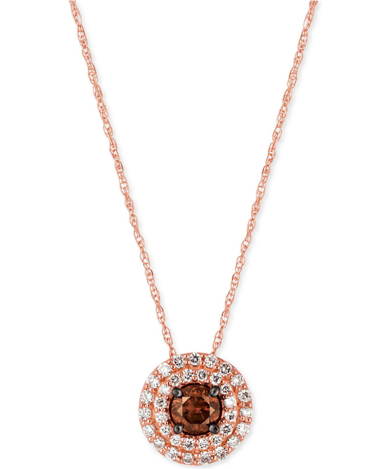diamonds diamond and brown gold necklace round product edwards davies pendant chocolate white