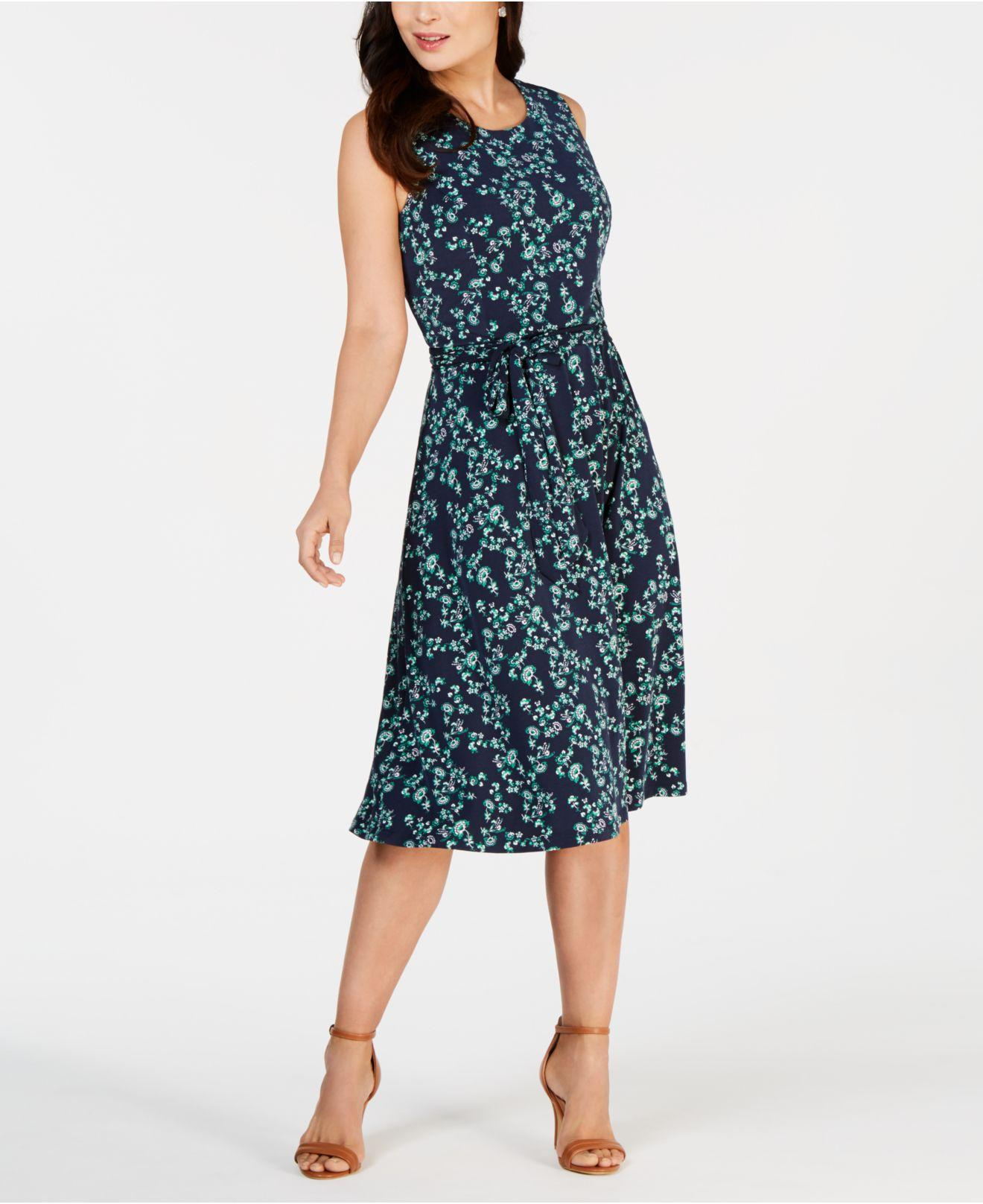 b5fa2a2533 Charter Club. Women s Blue Printed Midi Dress ...