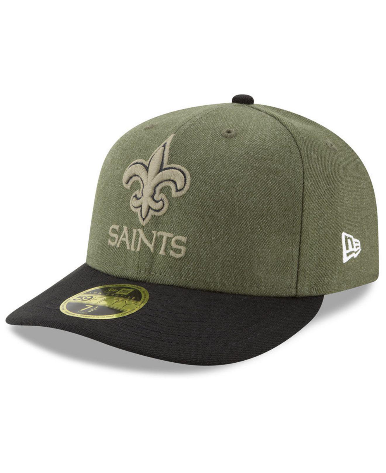 KTZ - Green New Orleans Saints Salute To Service Low Profile 59fifty Fitted  Cap 2018 for. View fullscreen a017d3c69