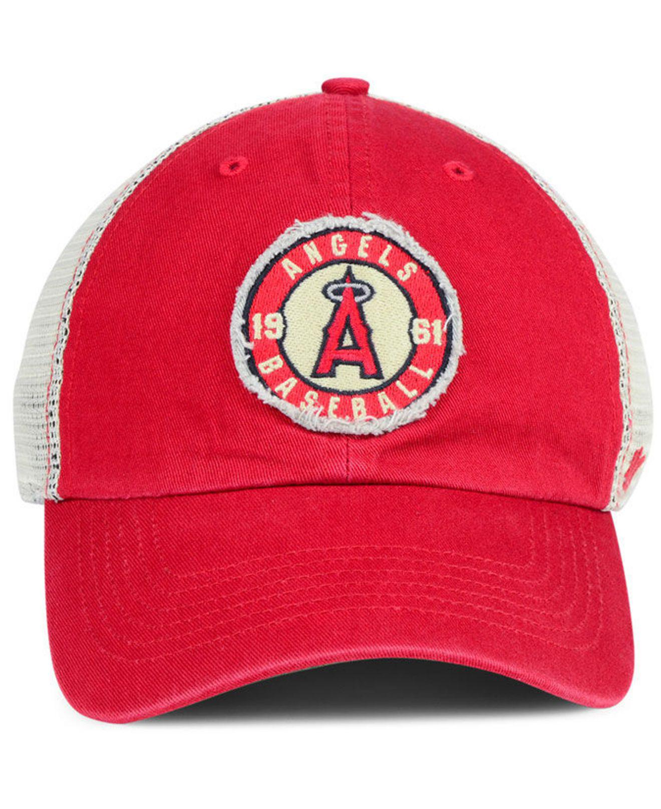 buy online a37ab 8dc33 ... hot lyst 47 brand los angeles angels tally closer stretch fitted cap in  red for men