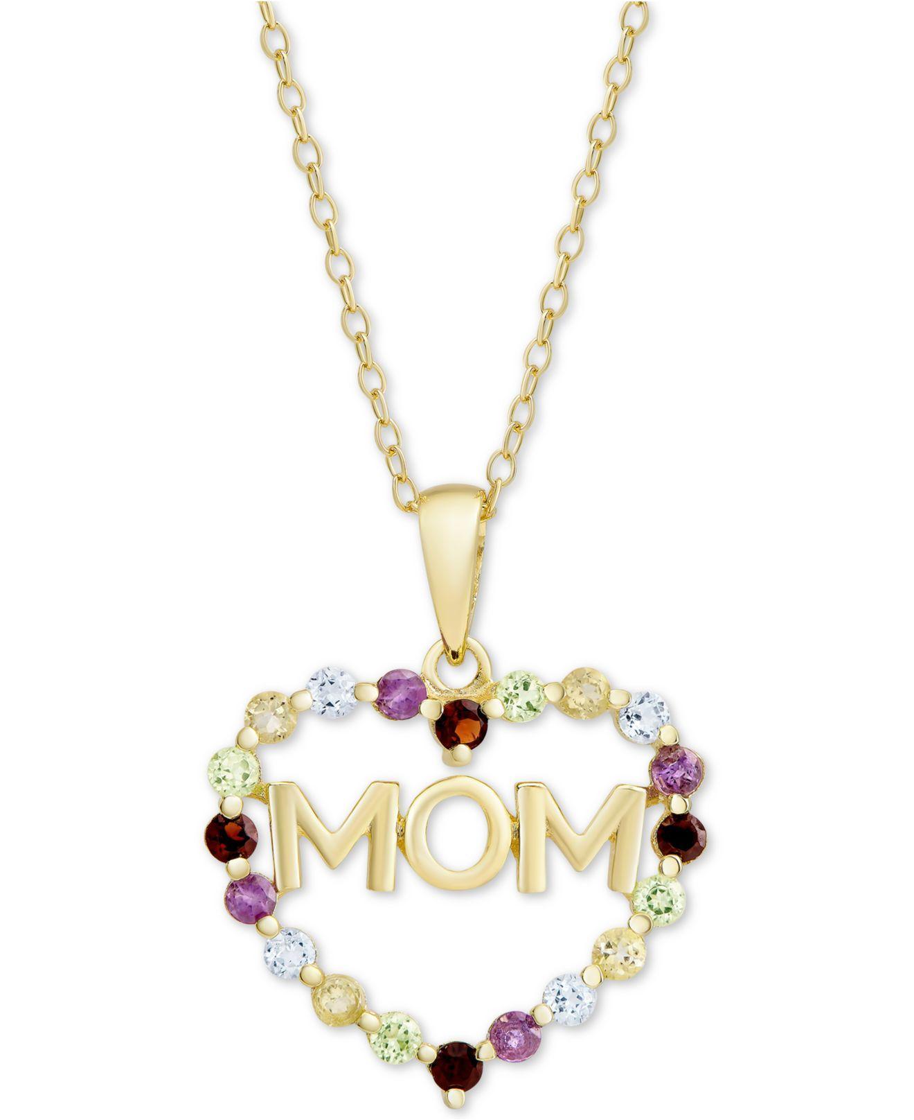 41c911e5d86 Macy's Multi-gemstone Mom Heart 18