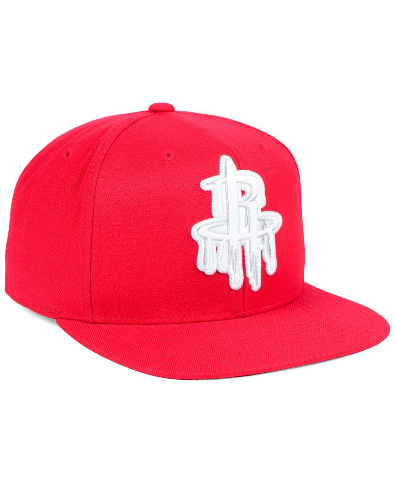 timeless design b12f0 1bb65 ... discount code for lyst mitchell ness houston rockets dripped snapback  cap in red cde35 9201e