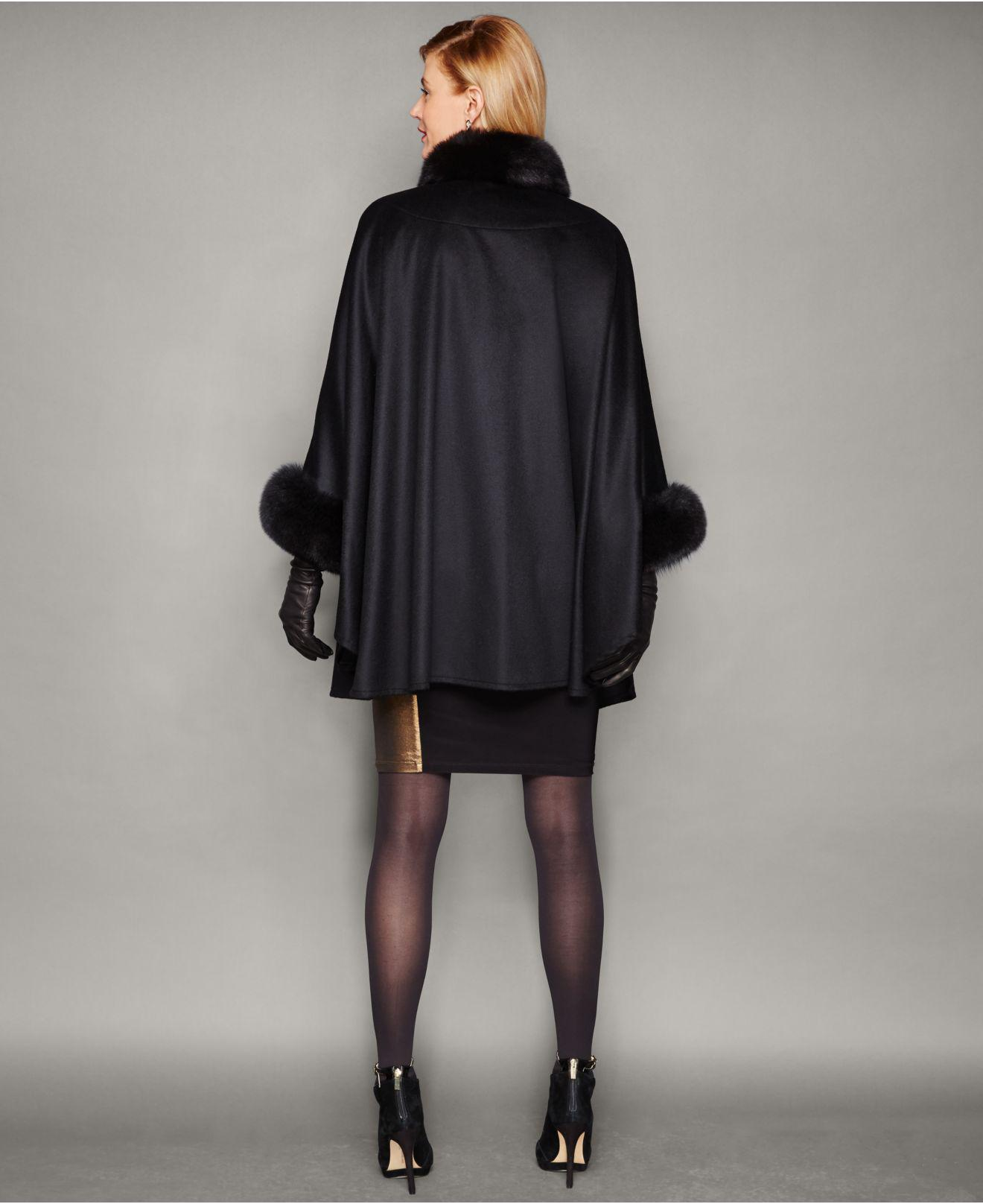 b42233a04f6 Lyst - The Fur Vault Fox-trim Cashmere Cape in Black