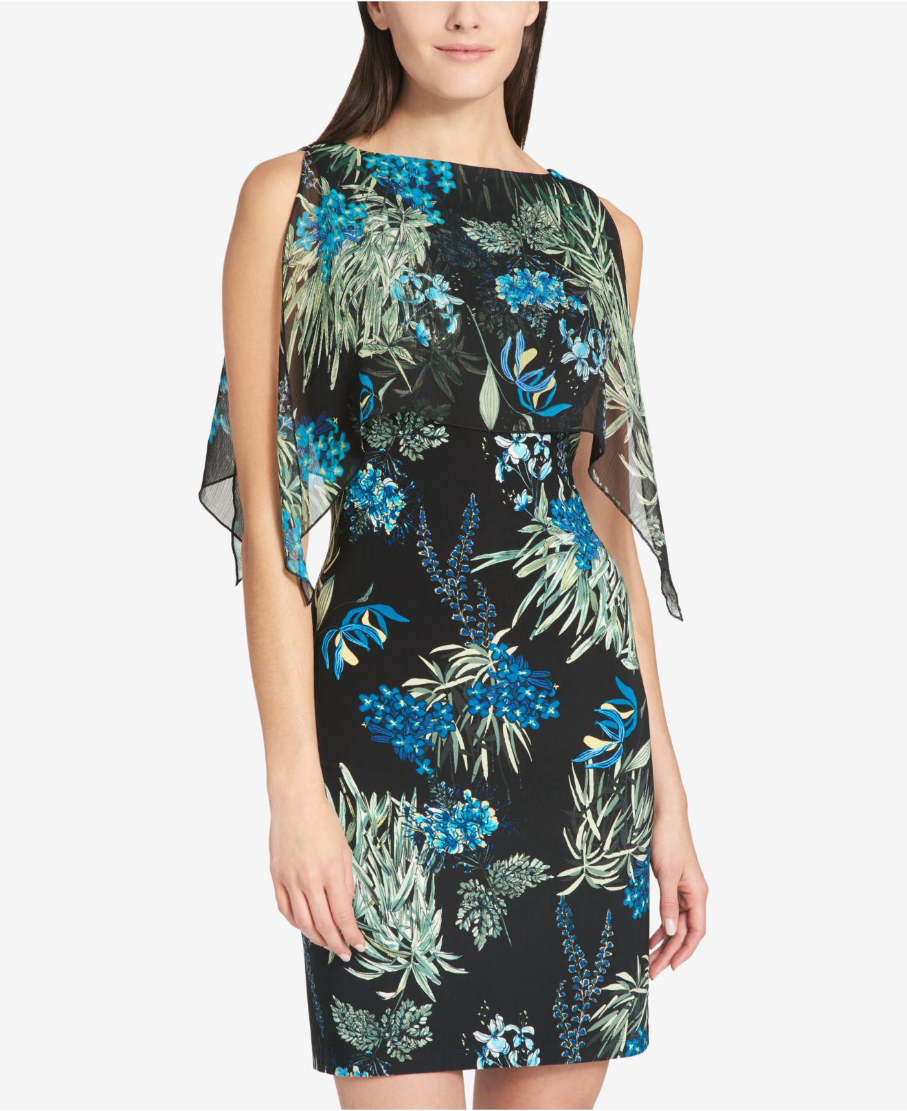 51699a8d630 Tommy Hilfiger Floral-printed Chiffon-overlay Dress in Black - Lyst