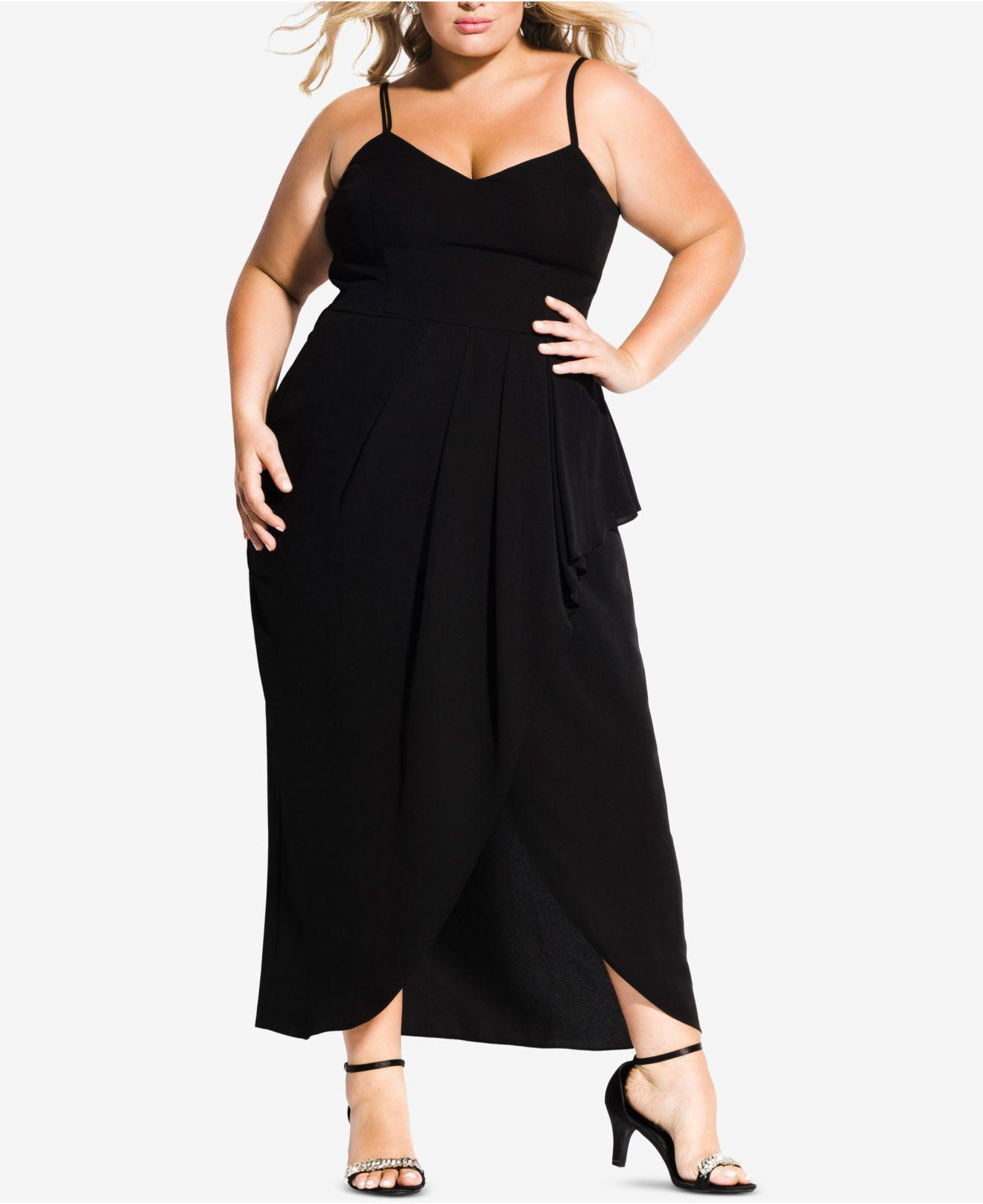 b56f1791b7b Lyst - City Chic Trendy Plus Size Pleated Faux-wrap Maxi Dress in Black
