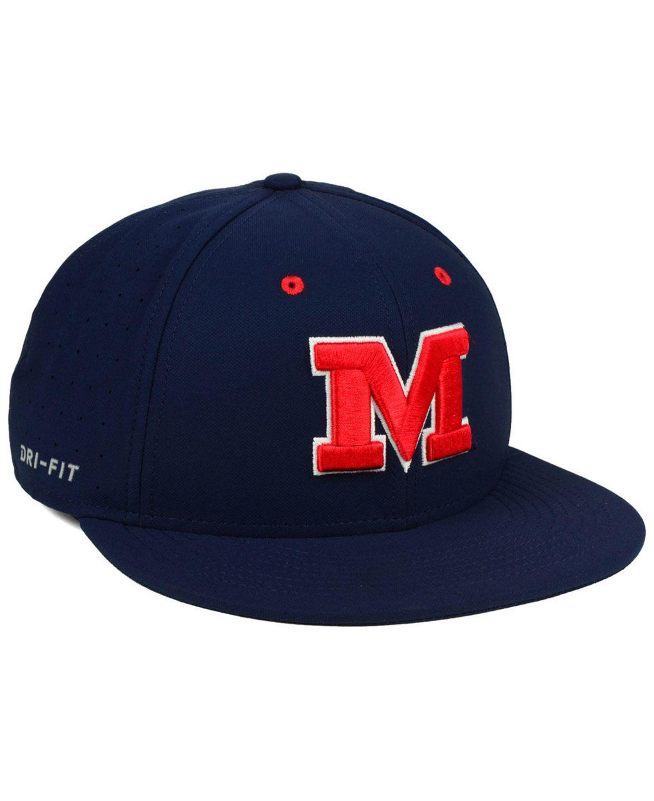 c77ae3ebee4 ... coupon for nike blue ole miss rebels aerobill true fitted baseball cap  for men lyst.