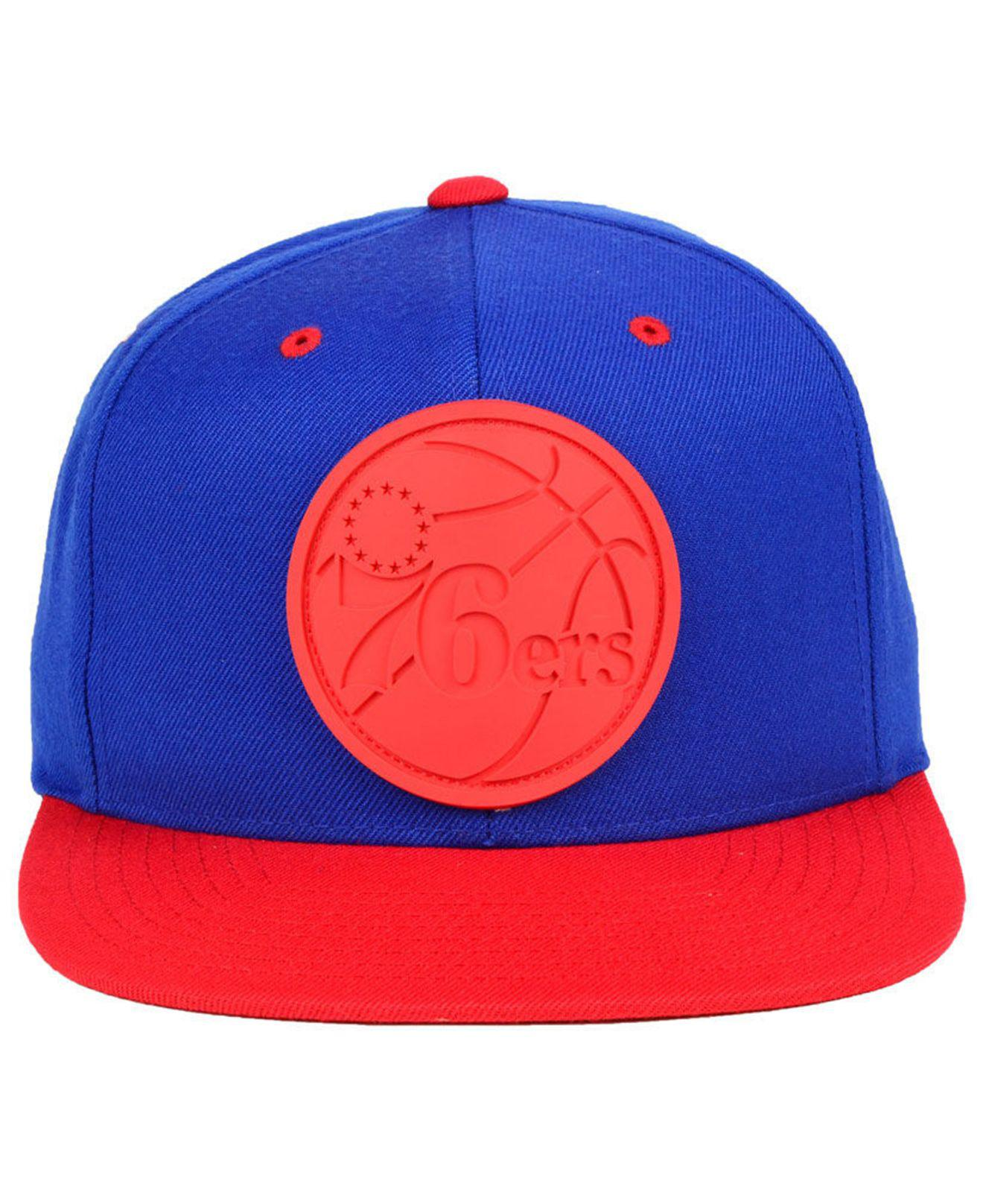 huge discount afd8e 42106 ... closeout lyst mitchell ness philadelphia 76ers rubber weld snapback cap  in blue for men 43803 e9333