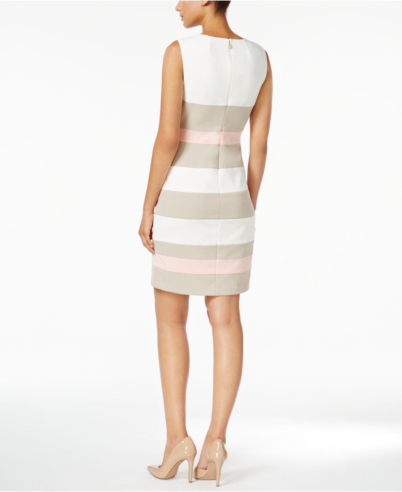 5e990cdc948 Lyst - Tommy Hilfiger Striped Scuba Sheath Dress in White - Save 16%