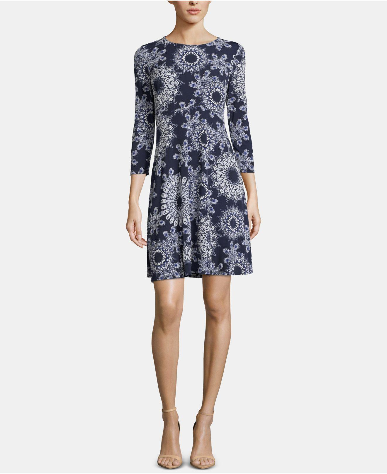 22a67e2df0 Lyst - Eci Pull-on Printed Dress in Blue