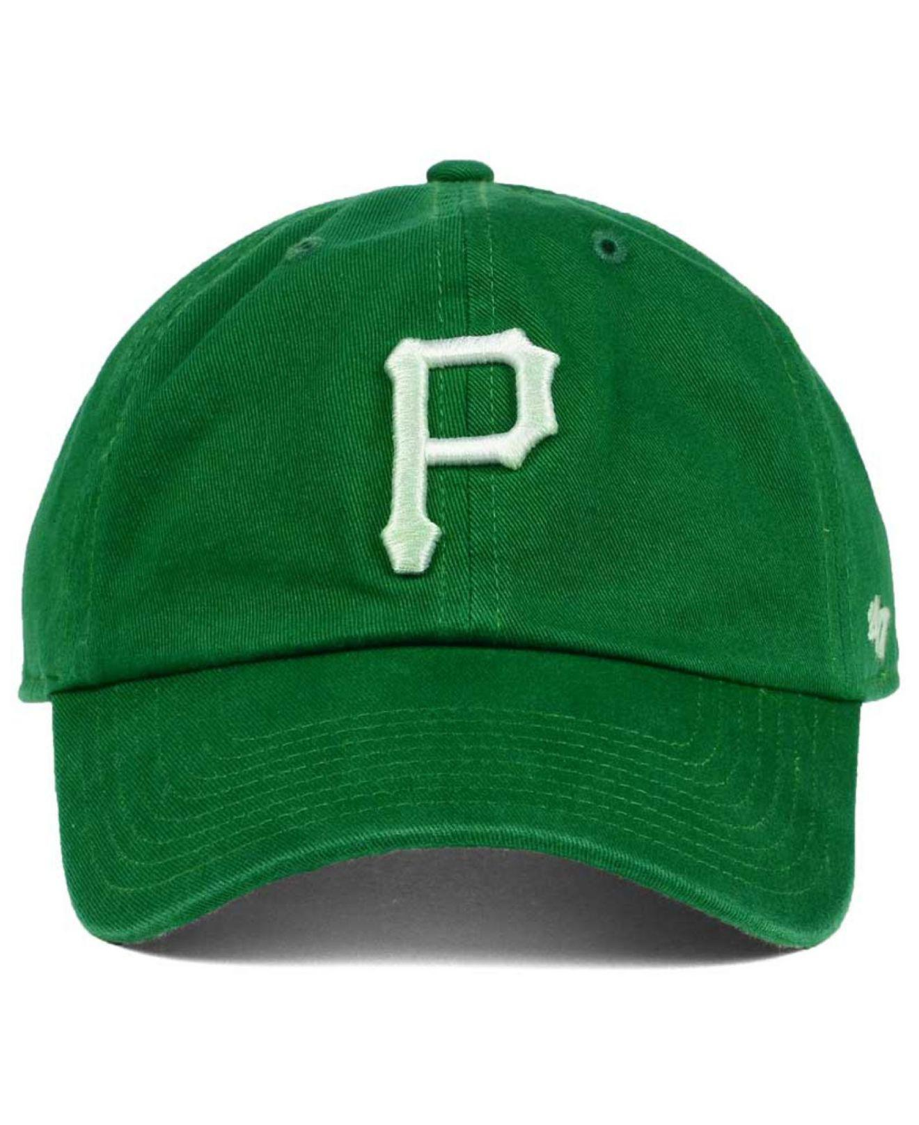 online retailer 7c3ea c523d ... strapback clean up hat a8927 2a1b1  sale lyst 47 brand pittsburgh  pirates kelly white clean up cap in green for men 91fcf