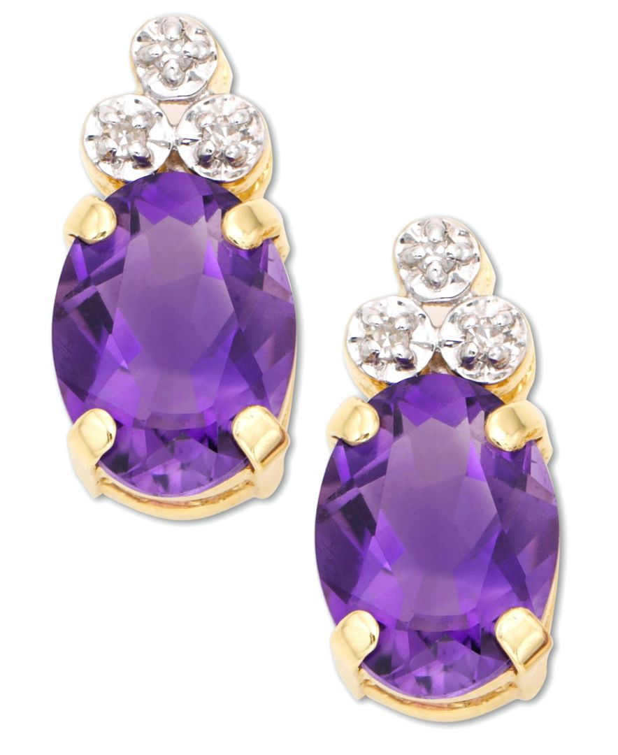 macy s amethyst earrings macy s 10k gold amethyst accent earrings in 4376