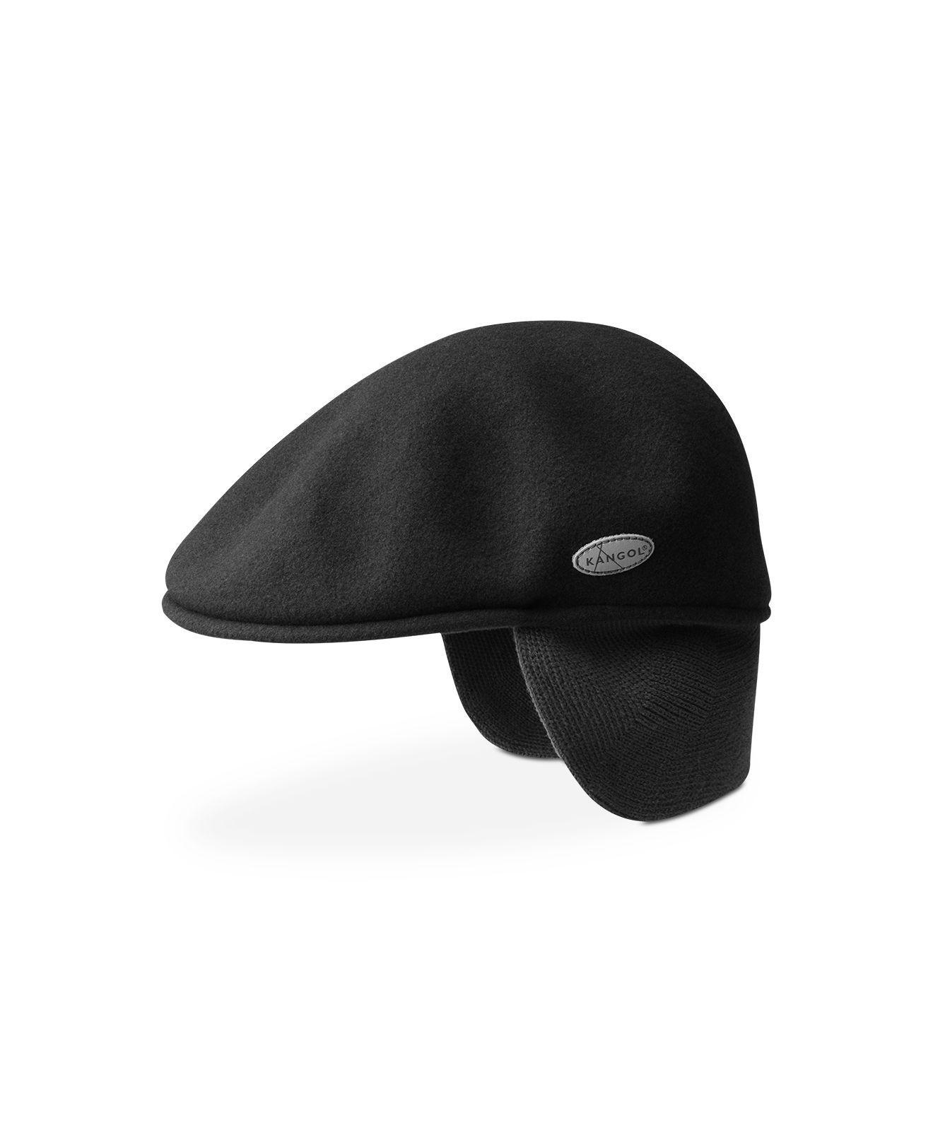 Kangol Wool 504 Earflaps Flat Cap Black 20b66f0f6a97