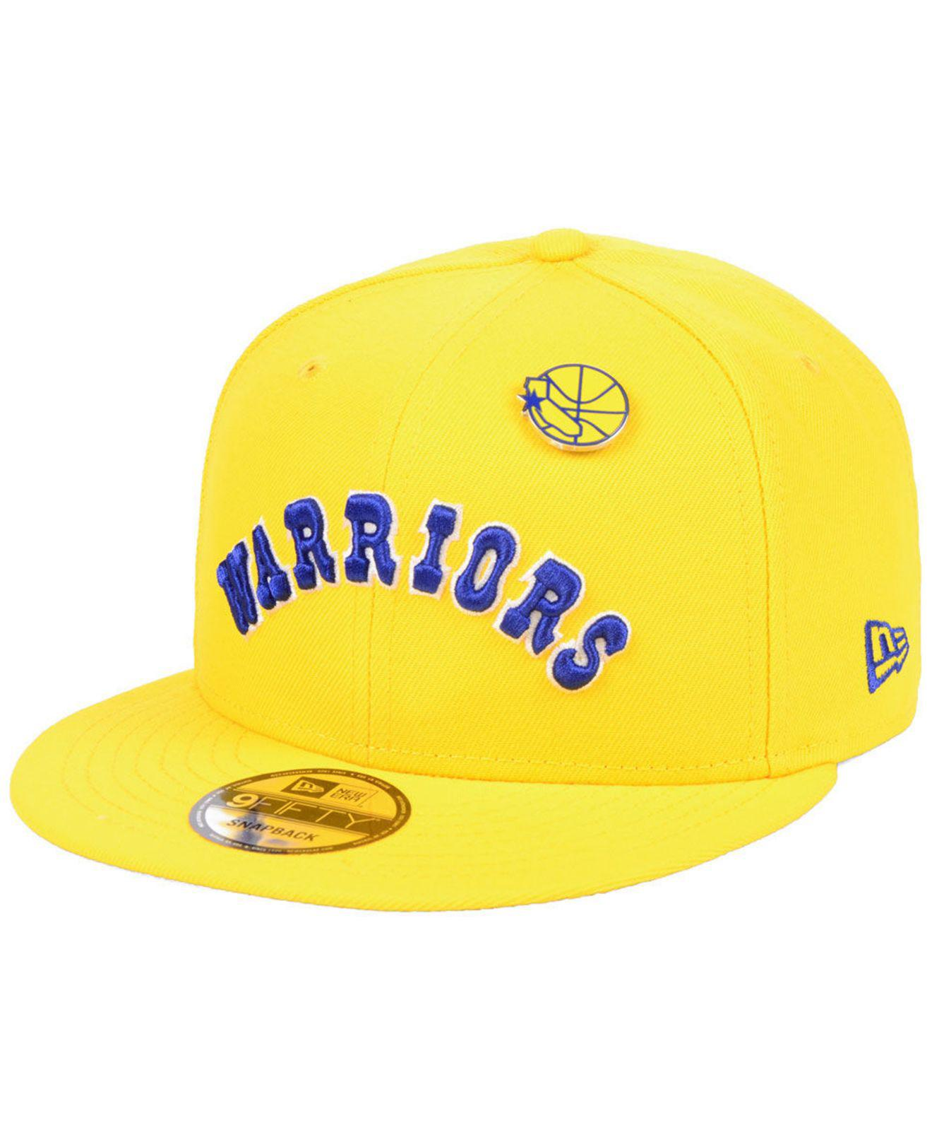 reputable site be8f7 3a026 ... ireland ktz. mens yellow golden state warriors hardwood classic nights  pin 9fifty snapback cap 1c060