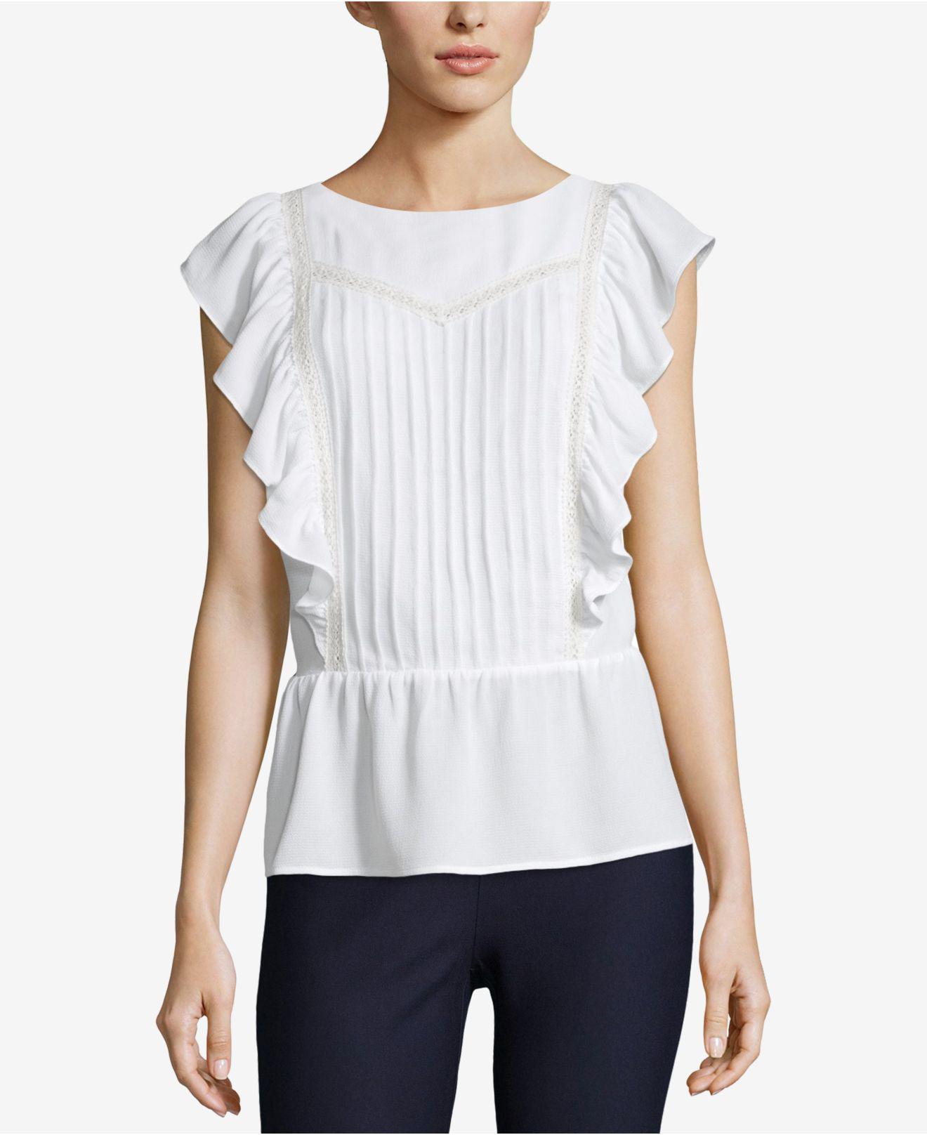 00bcad9a5a7cc6 Lyst - Eci Lace-trim Peplum Top in White