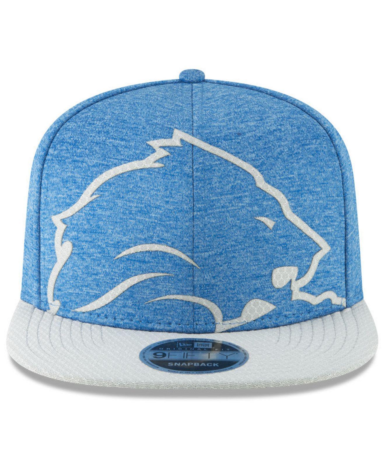 new styles 8644e cfb0c KTZ Detroit Lions Oversized Laser Cut 9fifty Snapback Cap in Blue for Men -  Lyst