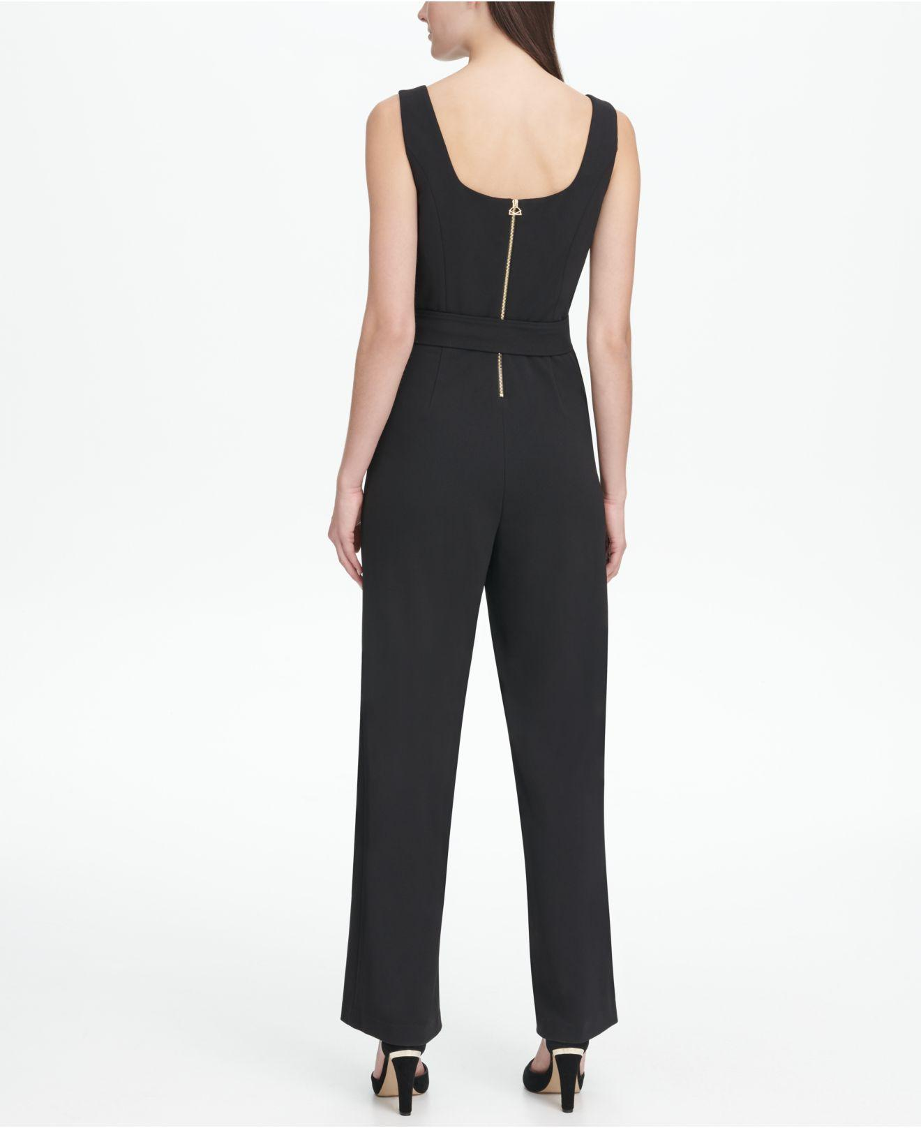 22fffaad761 Lyst - DKNY Square Neck Self Belt Jumpsuit in Black