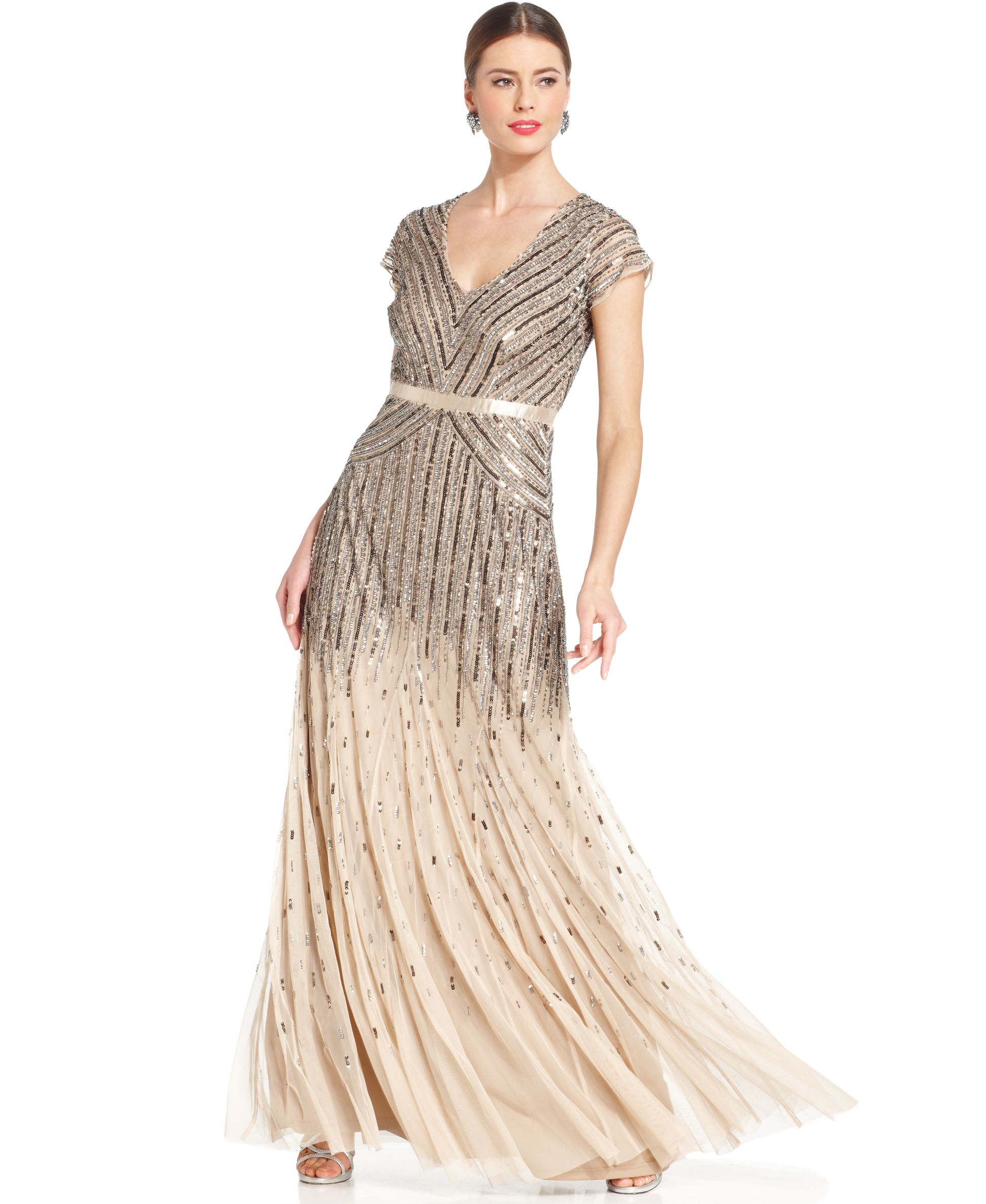 Adrianna Papell Cap Sleeve Beaded Sequined Gown In Natural