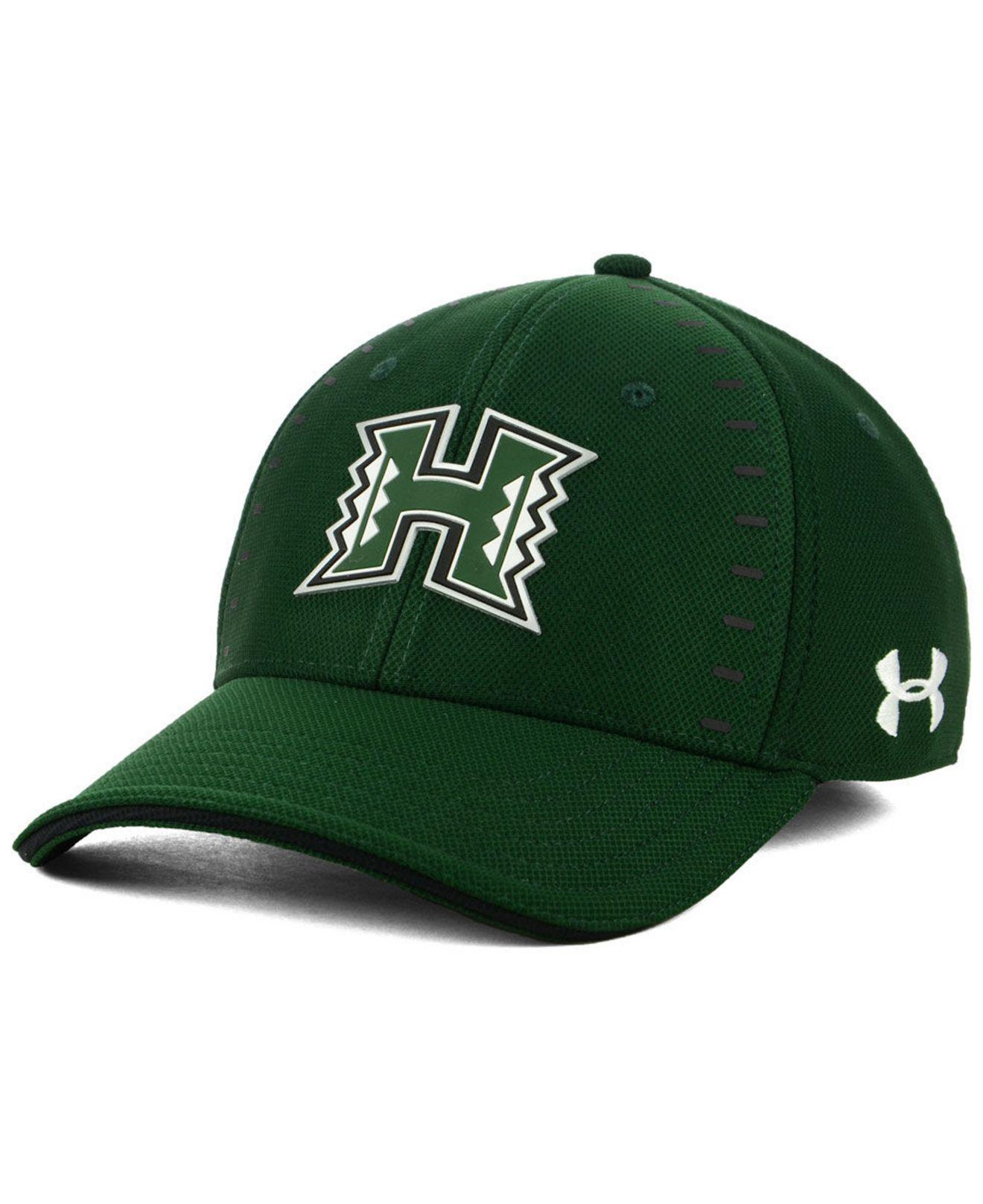 Under Armour. Men s Green Hawaii Warriors Blitzing Flex Stretch Fitted Cap d940eac4fd7