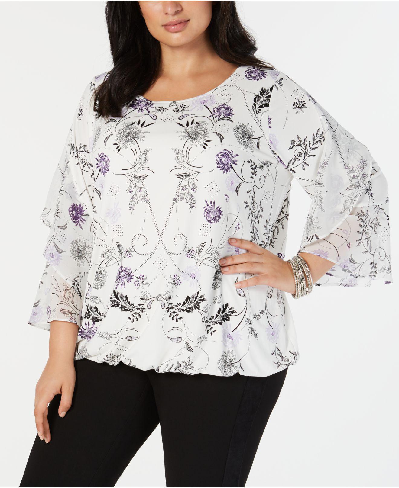 503ae7a2ef8 Alfani. Women s Plus Size Ruffled-sleeve Top ...