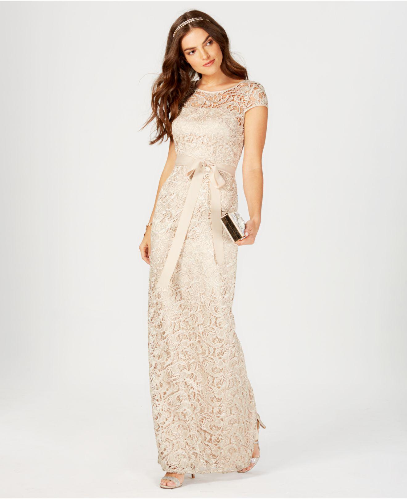 5fdfb6f67d159 Lyst - Adrianna Papell Lace Cap-Sleeve Gown in Natural