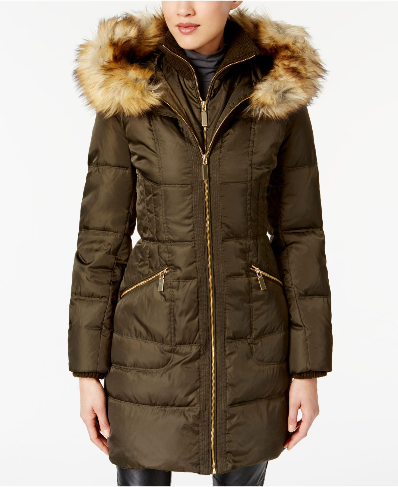 Lyst Vince Camuto Faux Fur Trimmed Hooded Puffer Coat In