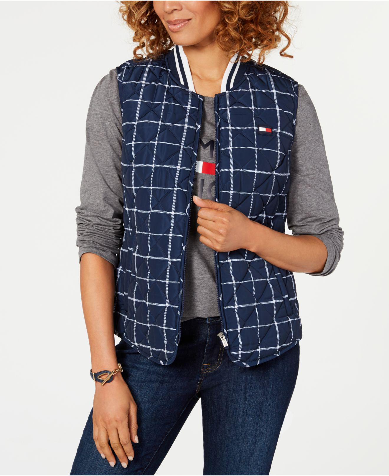 89b0f7215208f Lyst - Tommy Hilfiger Sport Logo Quilted Vest in Blue - Save 26%