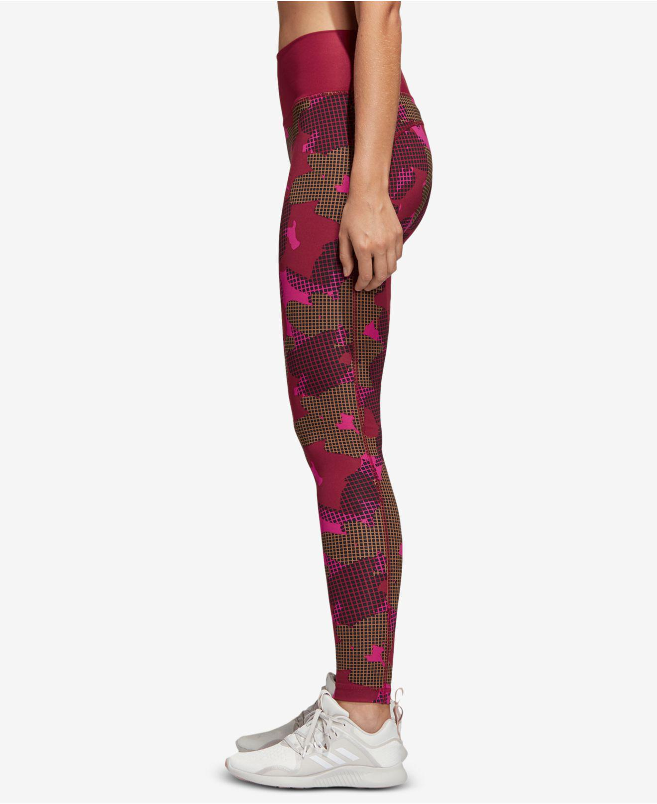 4a9c4885d3e41 Adidas - Red Believe This Printed High-rise Ankle Leggings - Lyst. View  fullscreen