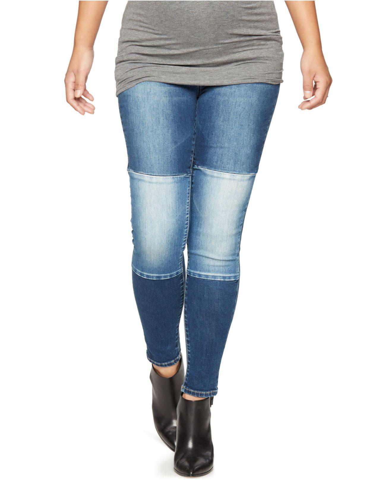 ba4e052c1f0e7 Luxe Essentials Denim Maternity Patched Dark Wash Ankle Skinny Jeans ...