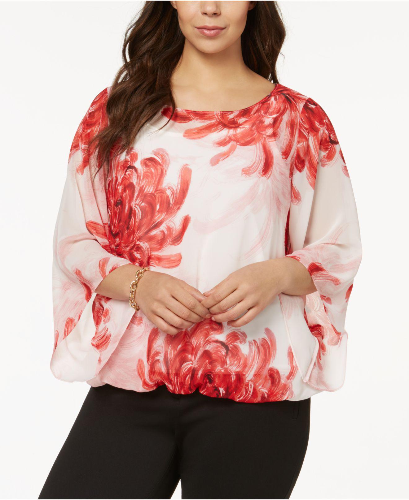 2130267be6f Lyst alfani plus size printed angel sleeve top in red jpg 1320x1616 Plus  size angel tops