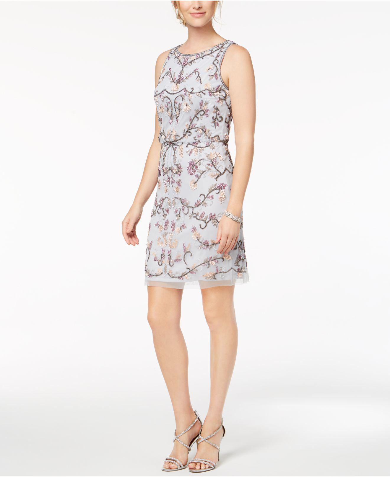 6d6b7ceff7e Adrianna Papell. Women s Petite Sleeveless Beaded Blouson Dress