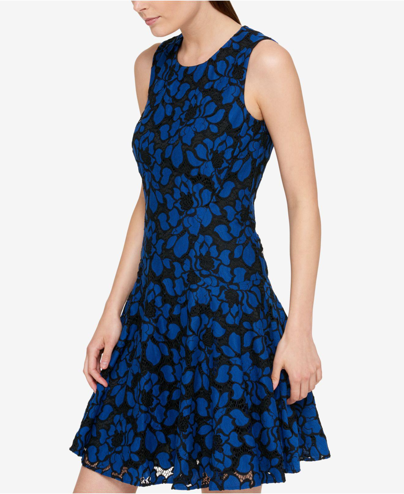 2b1e709e7ac Tommy Hilfiger Denim Lace Fit & Flare Dress in Blue - Lyst