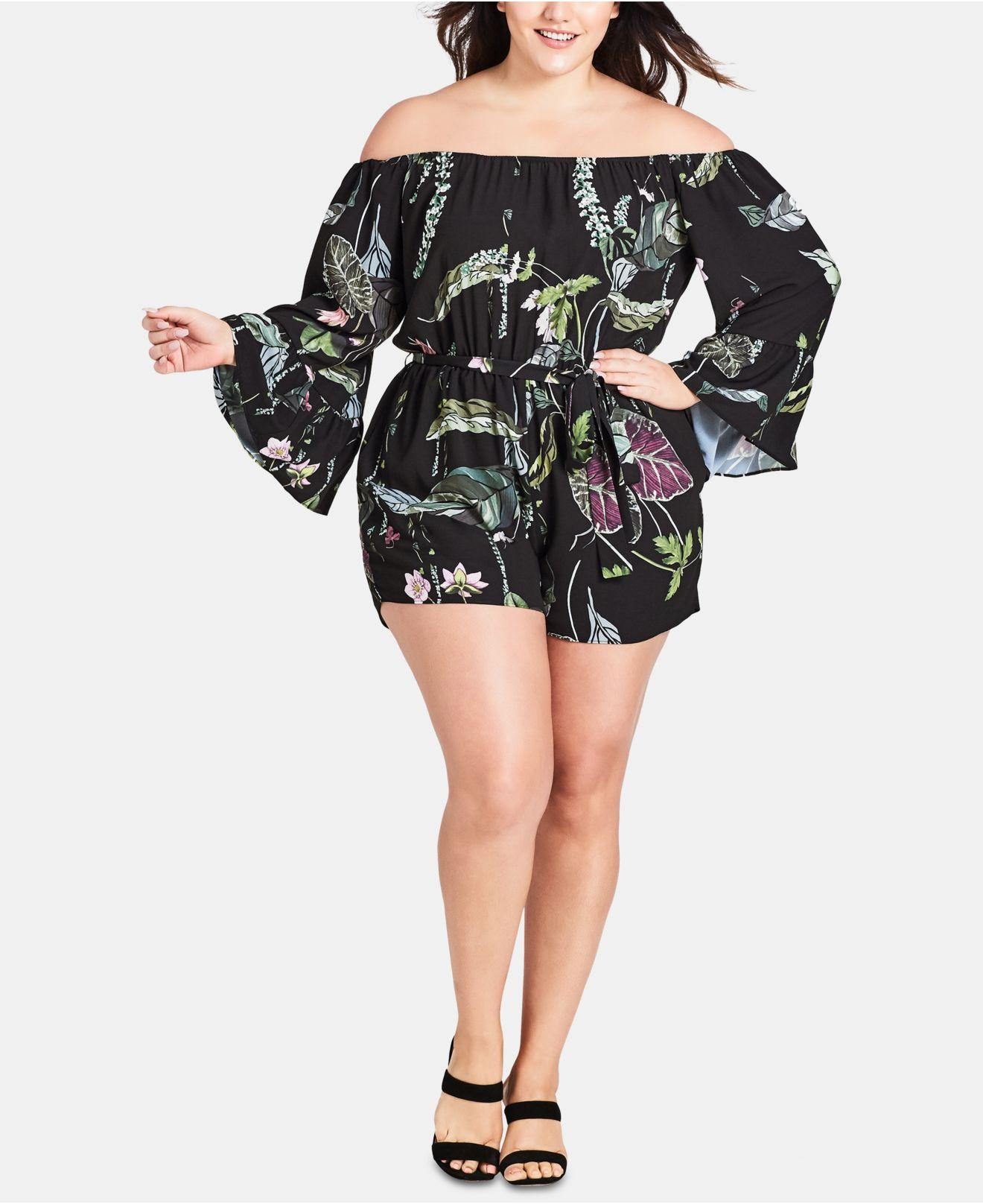 49513dd57d Lyst - City Chic Trendy Plus Size Lily Pad Romper in Black
