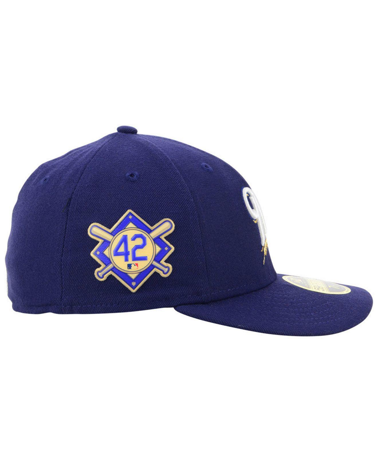promo code 93a46 9ad7c KTZ Milwaukee Brewers Jackie Robinson Day Low Profile 59fifty Fitted Cap in  Blue for Men - Lyst