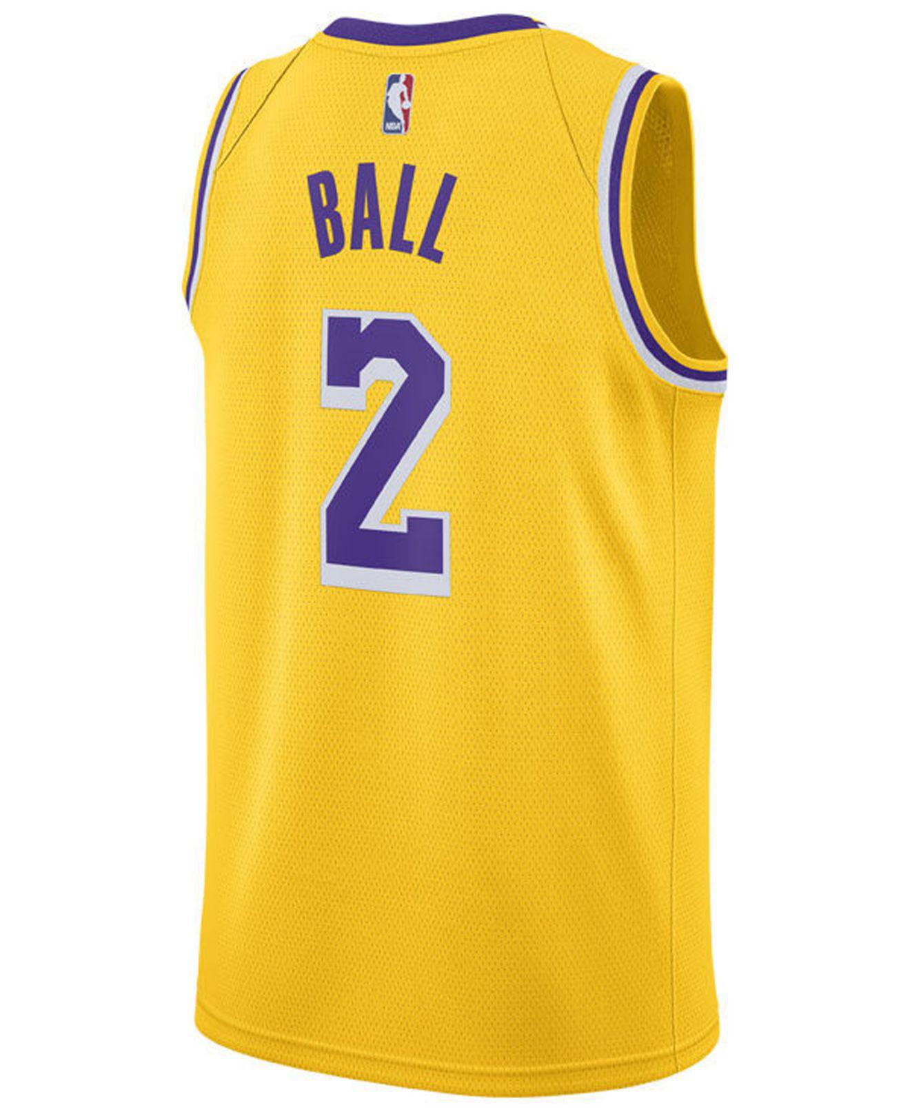 11d63a202 Lyst - Nike Lonzo Ball Los Angeles Lakers Icon Swingman Jersey in Metallic  for Men
