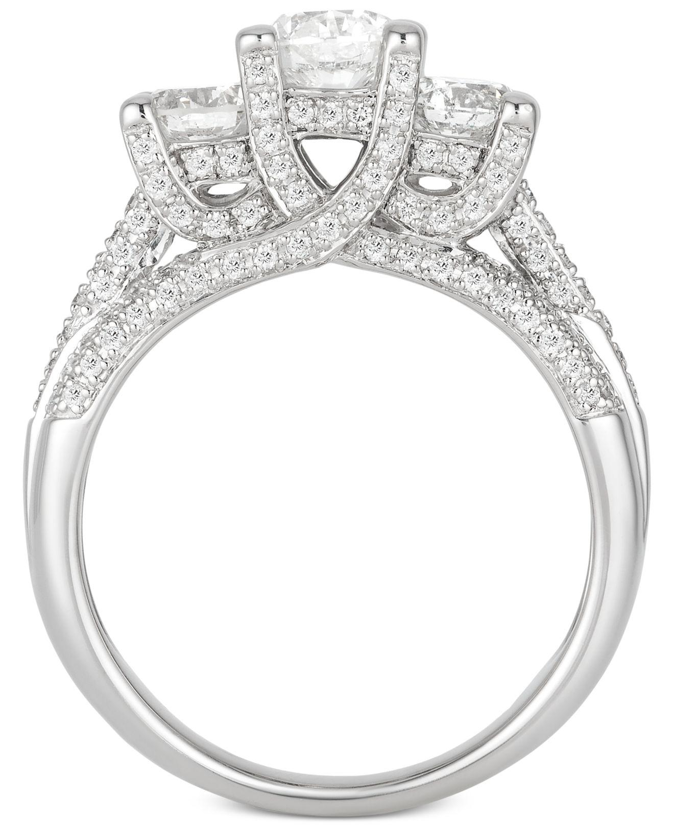 8f3ab4dd77df Lyst - Macy s Diamond Three-stone Pavé Engagement Ring (1-3 4 Ct. T.w.) In  14k White Gold in Metallic