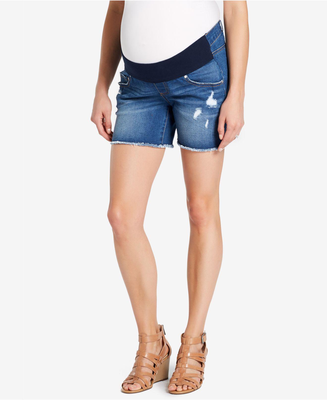 c472295d2f907 Lyst - Jessica Simpson Maternity Frayed-hem Denim Shorts in Blue
