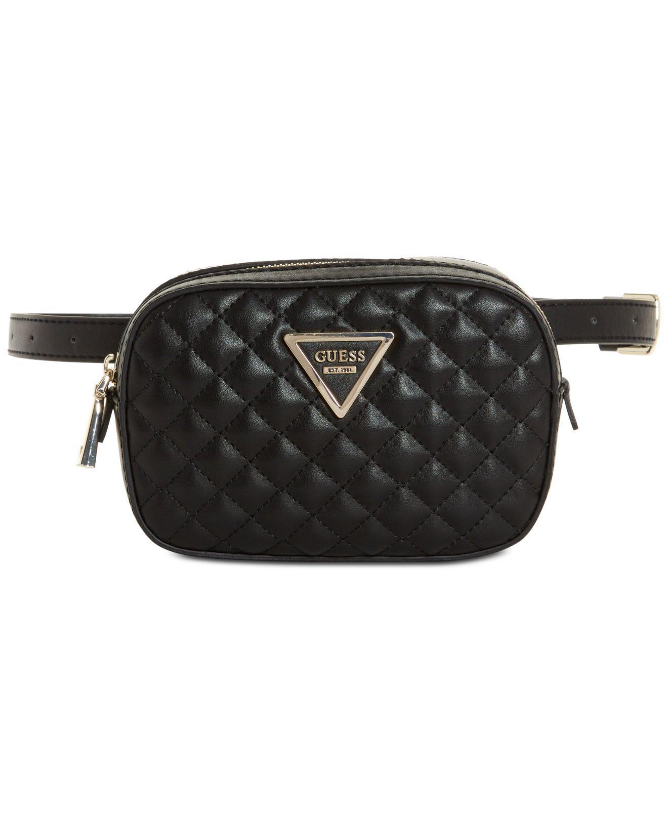 Lyst - Guess Varsity Pop Mini Belt Bag in Black 4538c836bd068