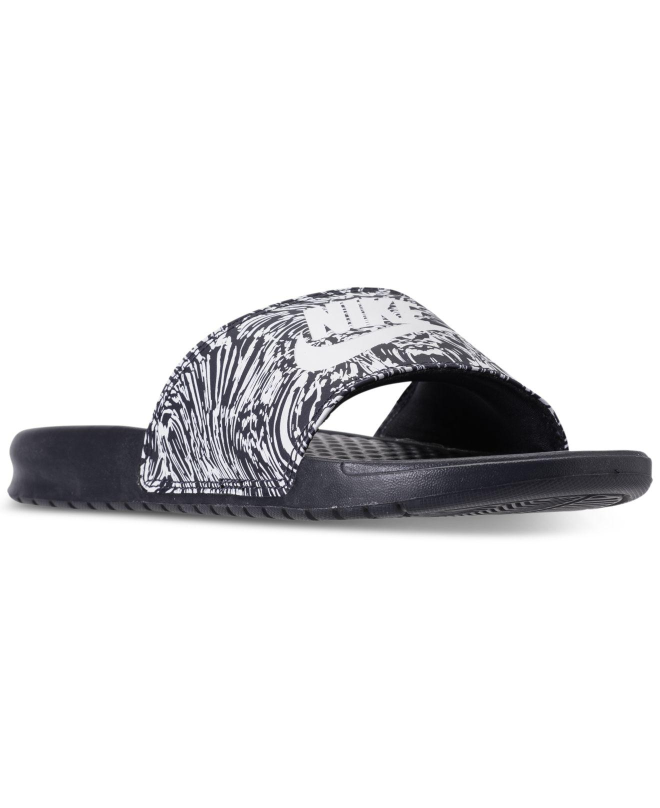 0046a8c60eb742 Lyst - Nike Benassi Jdi Print Slide Sandals From Finish Line in Blue ...