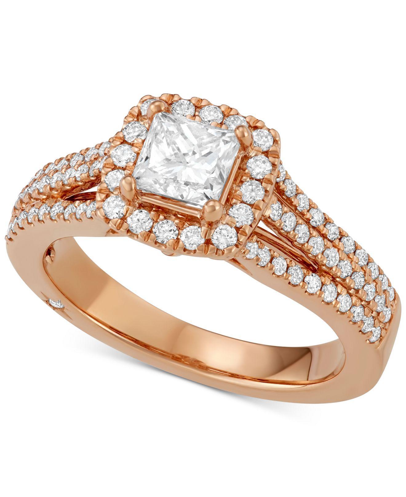 6048fc7f4aec8c Macy's Celeste Halo By Marchesa Princess Cut Diamond Engagement Ring ...