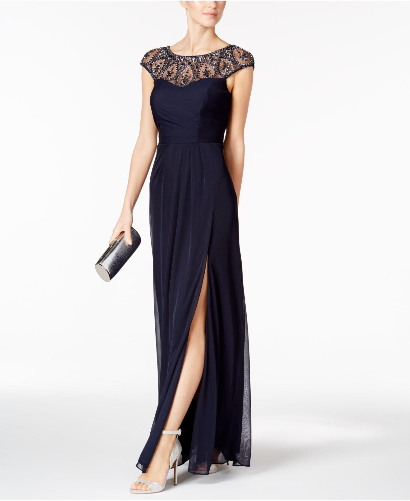 Lyst - Xscape Embellished Faux-wrap Gown in Blue