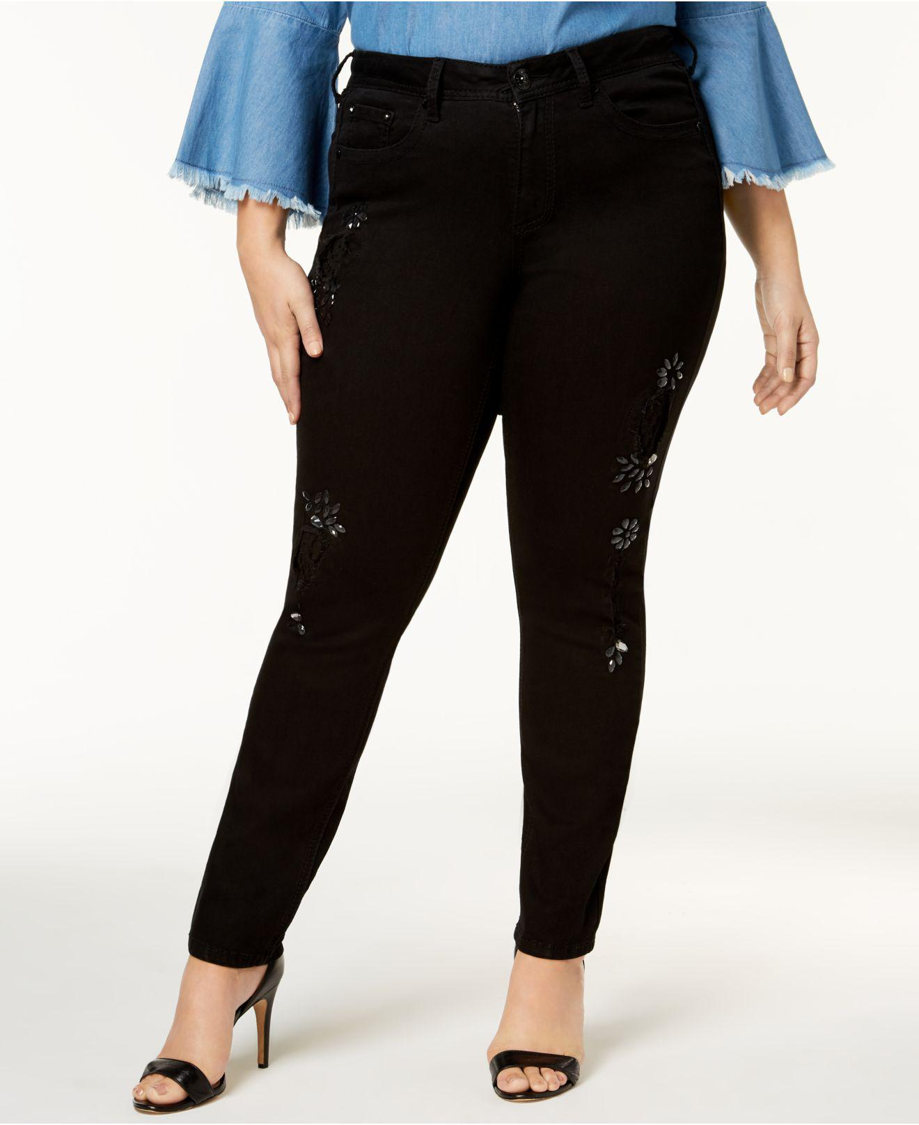 bc26bb0e711 Lyst - Seven7 Trendy Plus Size Ripped Skinny Jeans in Black