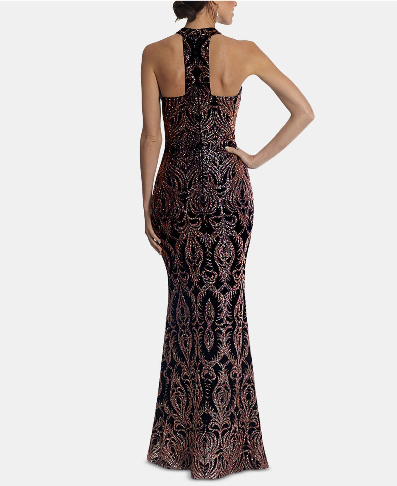 5d242246747 Betsy   Adam Halter Glitter Gown in Black - Lyst