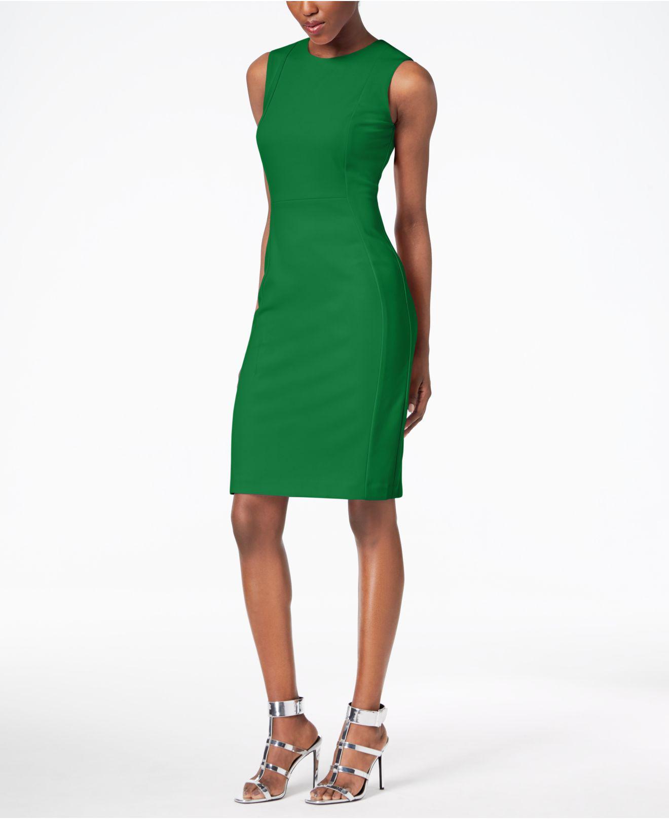 4a5e300f Calvin Klein Scuba Crepe Sheath Dress in Green - Lyst