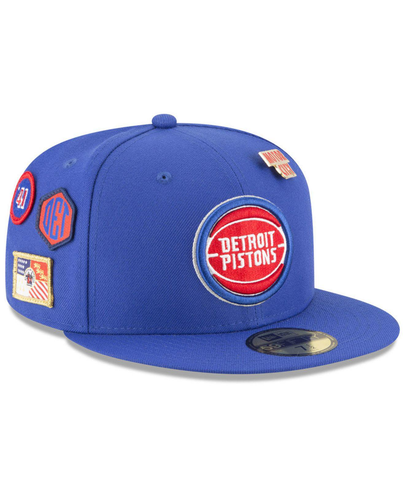 new product 8dd81 19c30 KTZ. Men s Blue Detroit Pistons On-court Collection 59fifty Fitted Cap