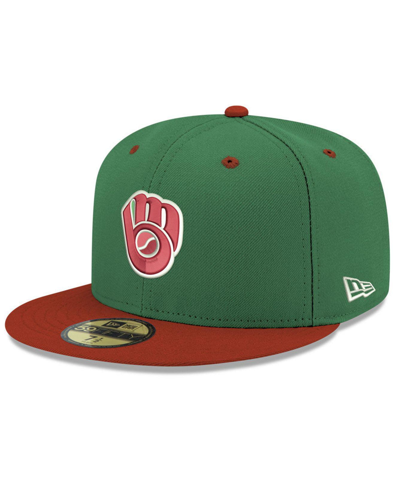 best service 17877 e6fb7 KTZ - Milwaukee Brewers Green Red 59fifty Fitted Cap for Men - Lyst. View  fullscreen